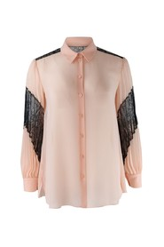 Longsleeve Pleated Blouse with Lace Detail