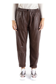 nappa leather trousers with elasticated waist