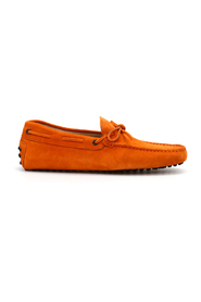 Lace detail suede loafers