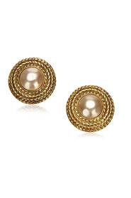 Faux Pearl Button Clip-On Earrings