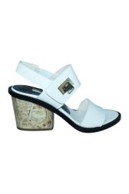 Leren slingback sandalen met houten hakken-pre-owned staat uitstekend