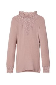 Long-Sleeved T-shirt high neck lace