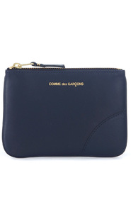 Wallet blue leather pouch