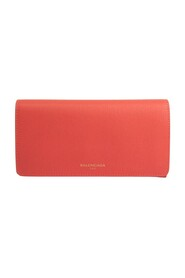 pre-owned ESSENTIAL 490624 Leather Long Wallet (bi-fold)
