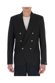 Double-breasted blazer with embossed buttons