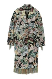 Single-breasted Journey Collection Bertina jacquard coat with flower collage and fringes