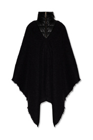 Poncho with standing collar