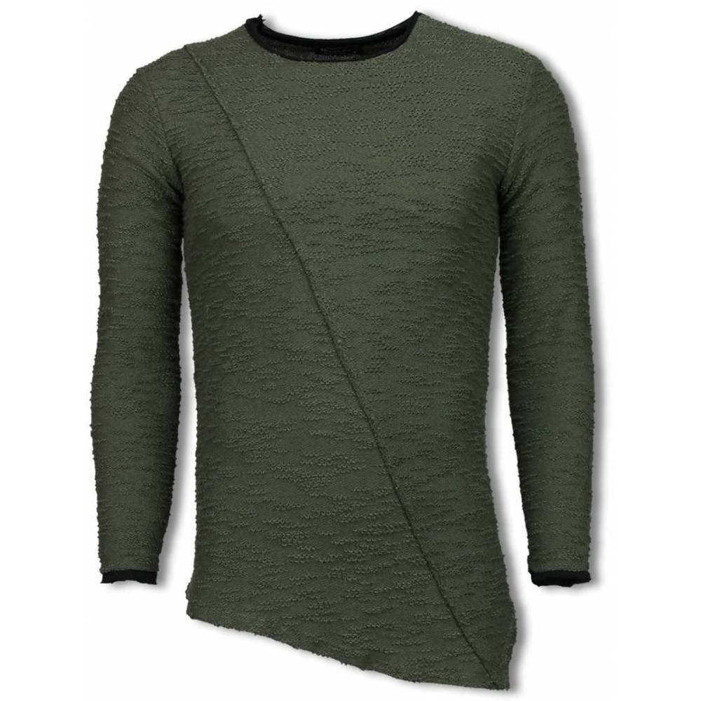 Rippet Look Stitched Long Fit Sweater