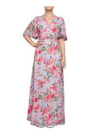 Floral Semi Wrap Maxi Dress