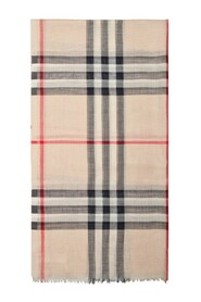 Giant Check Gauze Scarf in Stone Check