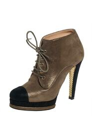 Pre-owned Glitter Suede Cap Toe Lace Up Booties