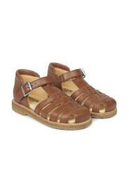 Sandal med velcro og dekorativ spænde