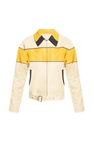 Leather jacket with belt