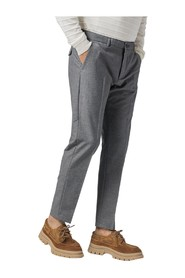 SLIM COTTON AND WOOL TROUSERS