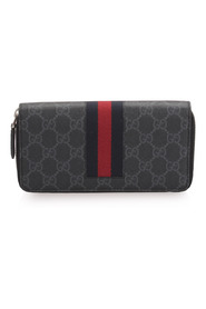 Pre-owned GG Supreme Web Zip Around Wallet