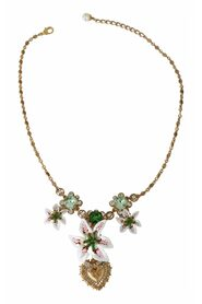 Gold Brass Sacred Heart LILIUM Green Crystal Floral Necklace