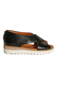 Sort Zinza Leather Black Sandaler, BN 276