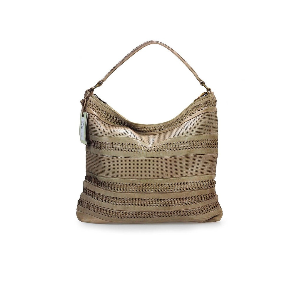 WEAVE LEATHER SHOPPING BAG