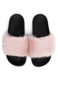MINK FUR SLIPPERS PALE ROSE
