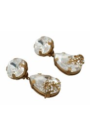 Floral Clear Crystal Dangle Clip-On Earrings