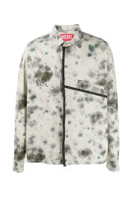 WOVEN SHIRT Stain Print Twill Over Shirt