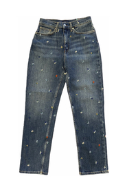 Cropped Emb Jeans