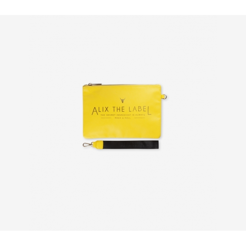 Fake leather clutch yellow - Alix the label