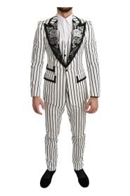 Black Striped Floral 3 Piece White Suit