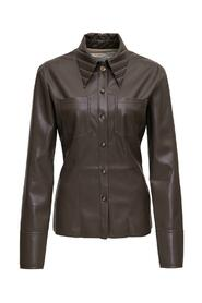 Leather Shirt with Pleated Collar