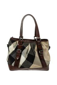 Pre-owned Mega Check Canvas and Leather Lowry Tote