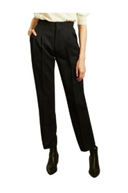 Wool pleated high waist trousers