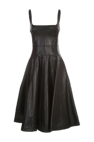 LEATHER SLEEVELESS GODET MINI DRESS