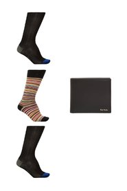 Socks three-pack & leather wallet