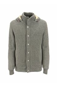 Cashmere knitted outerwear with down filling and detachable hood
