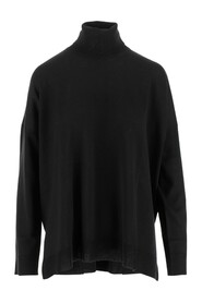 Sweater High neck Long sleeves Curved hem Wide fit Dropped shoulders