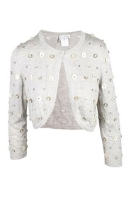 Cropped 3D Flower Deco Cardigan