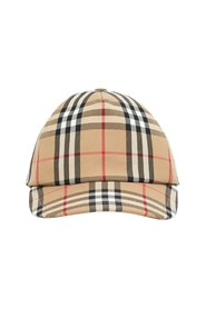 Baseball cap with stripes and vintage check