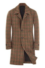 old style checked coat
