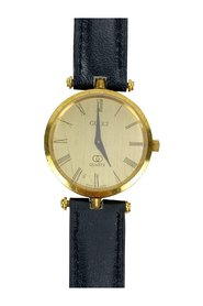 Gold Tone Stainless Steel Watch Leather Strap