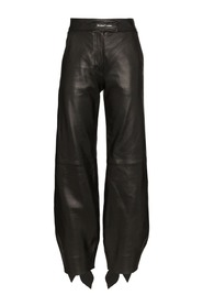 LEATHER BOW TRACK PANTS