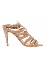 Pre-owned Tan Suede Cage Sandals