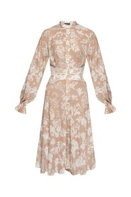 Patterned dress with standing collar