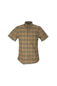 Short-sleeve Small Scale Check Stretch Cotton Shirt