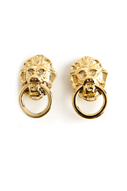 Lion ring clip earrings
