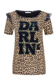 LEOPARD STATEMENT TEE WITH PEPLUM