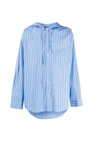 Hooded Drawstring Striped Shirt