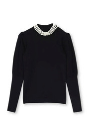 Crewneck Sweater with Pearls