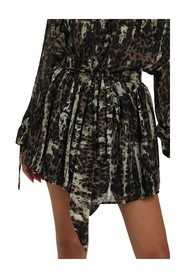 PLEATED LEOPARD SHORT