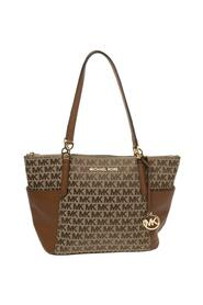 Canvas and Leather Charlotte Top Zip Tote