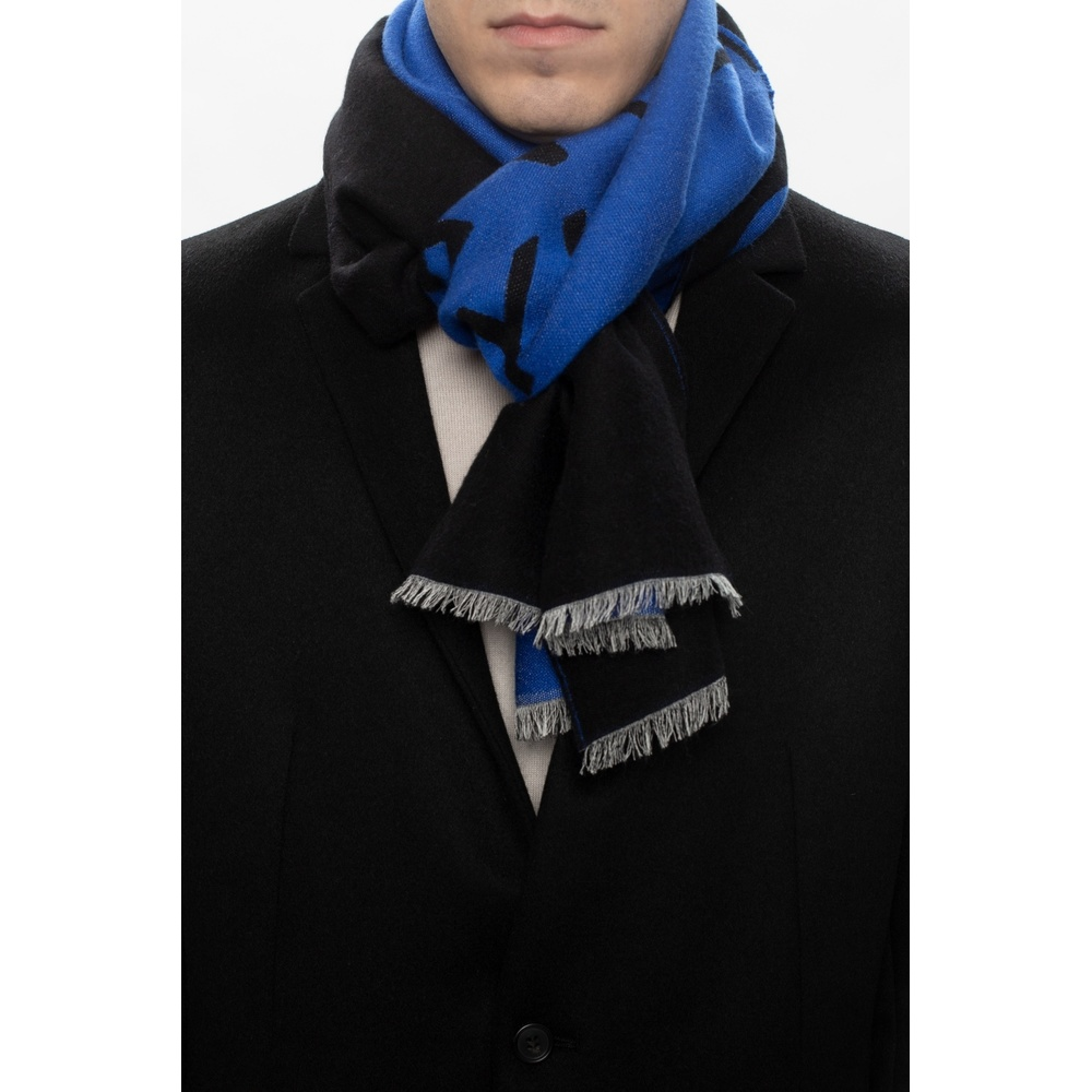 Blue Wool scarf with logo | Givenchy | Sjaals | Heren accessoires